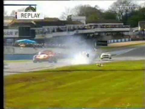 Troy Dunlop rolls TVR Tuscan at Donington 2001