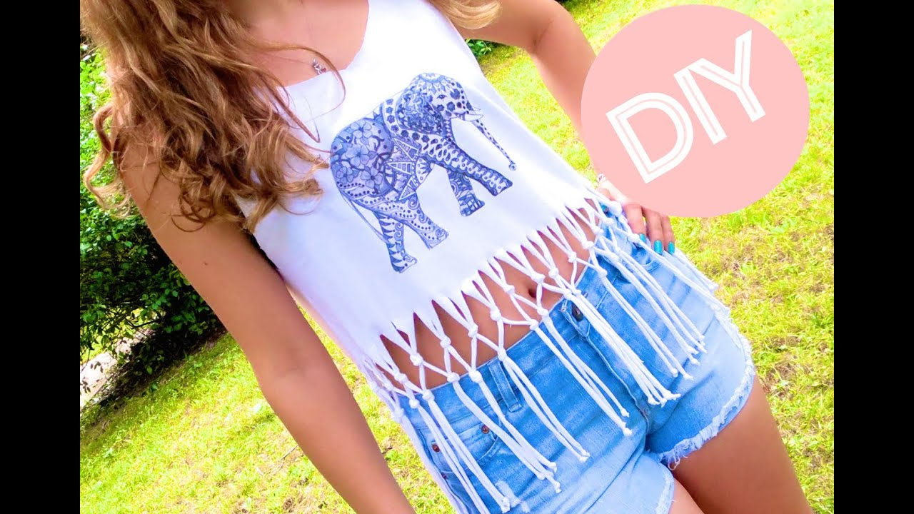 DIY Clothes! Fringe Crop Top + Print Your Own T-shirt (Graphic Tee ...