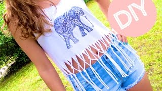 DIY Clothes! Fringe Crop Top + Print Your Own T-shirt (Graphic Tee) no Sew! Thumbnail