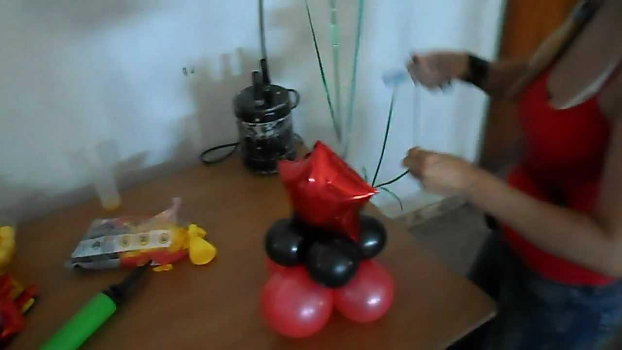 Arreglando centro de mesa globos con gas helio graciela - Centros de mesa con globos ...