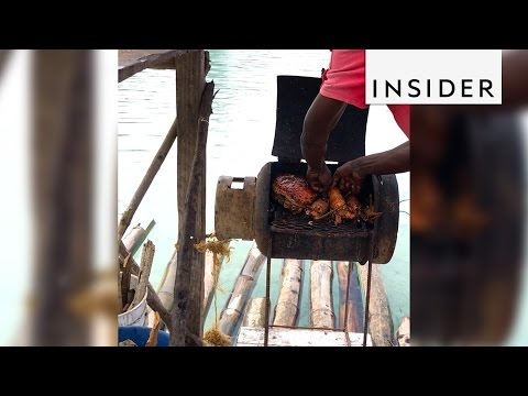 A raft near Jamaica is actually a floating seafood restaurant