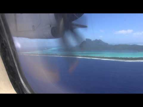 Air Tahiti landing at Bora Bora