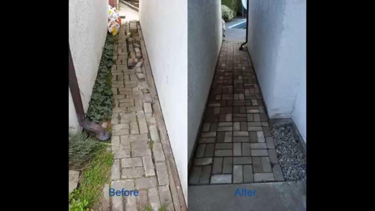 repair unevenpave brick garden path in yard without any