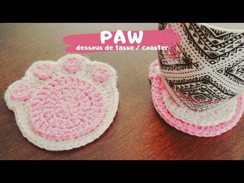 Dessous De Tasse Ou Verre Patte De Chat Au Crochet | Cute And Easy Crochet Paw Coaster