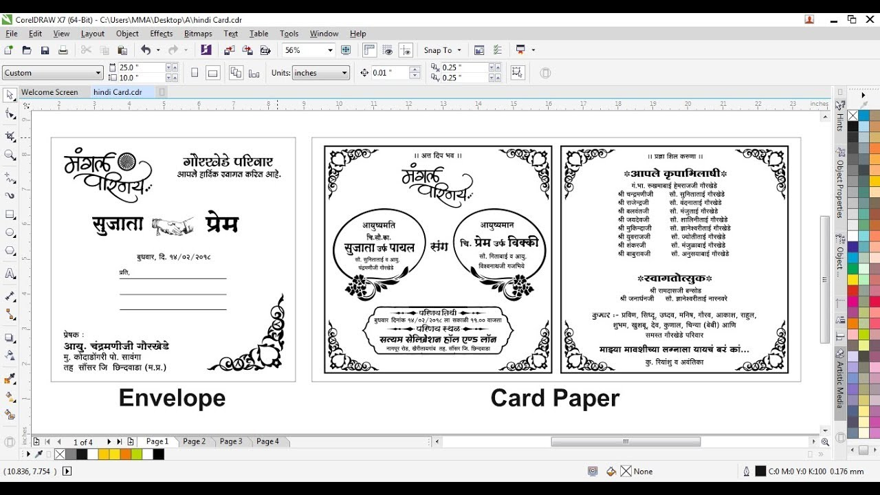 How To Make A Hindi Wedding Card Design In Corel Draw