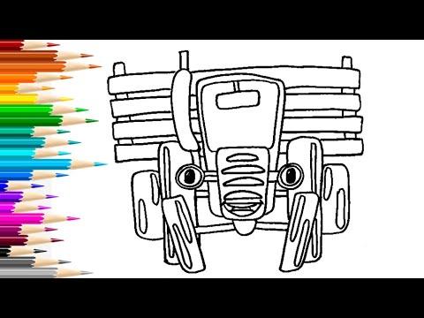 Как нарисовать СИНИЙ ТРАКТОР / Мультик раскраска ТРАКТОР ...
