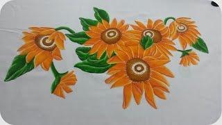 Mantel de girasoles con pintura textil (contorno de mantel parte 4/4)