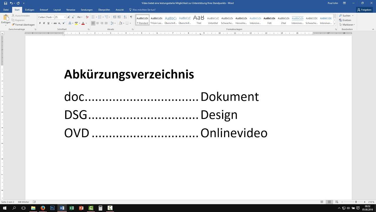 Word: automatisches Abkürzungsverzeichnis erstellen [Tutorial, Buch ...