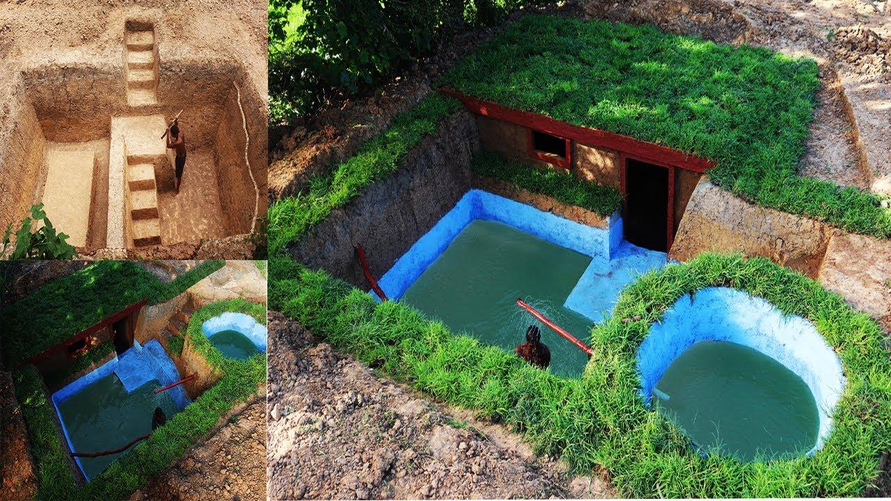 Build Beautiful Secret  Underground House and Underground Swimming Pool