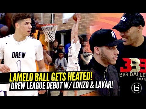 LaMelo Ball HEATS UP & GOES OFF at The Drew League vs Pros w/ LONZO & LaVar WATCHING!!!!