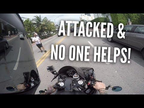 BIKER ATTACKED! Huge guy w/ nipple rings, Motorcycle vs Bad drivers, Miami pt 4 (CLICKBAIT)