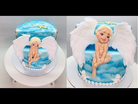 оформление торта на крестины с фигуркой ангела