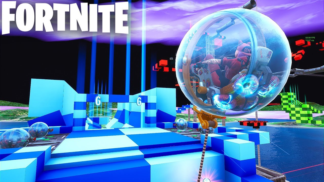new baller obstacle course in fortnite creative with codes super baller course hamster ball - fortnite obstacle course creative code
