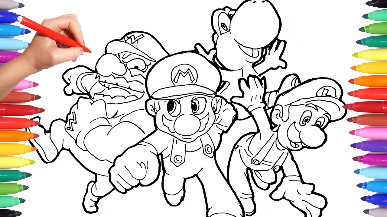 Super Mario Coloring Pages For Kids How To Draw Super Mario Luigi And Yoshi Learning Video