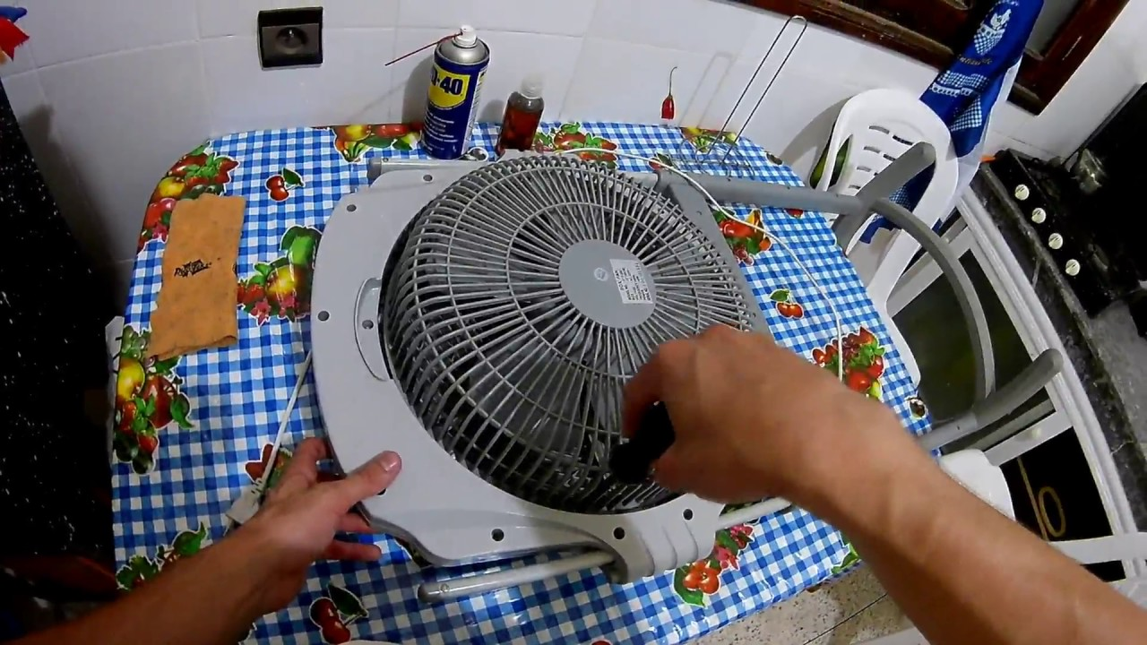 Lubricating stuck fan motor with WD-40 and high viscosity engine oil