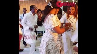 Mide Martins Sprays Money On Mercy Aigbe As Her Hubby Shows Off His Dance Move At Aigbe's Birthday