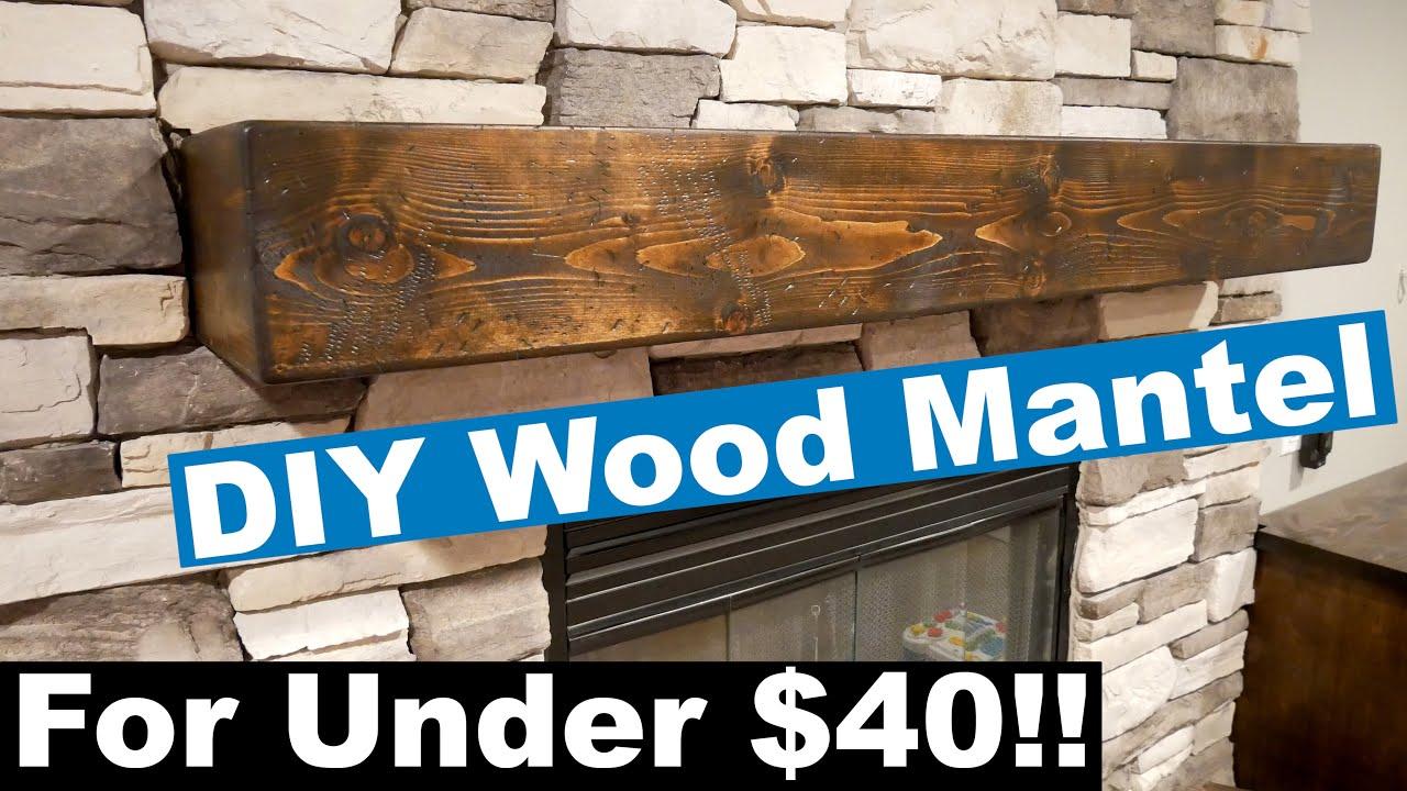 DIY Rustic One Piece Look Wood Mantel - YouTube