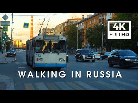 Real Russia. Saturday evening in a big Russian city. Short walk tour 4K.