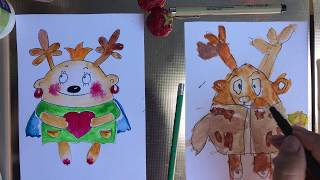ОЛЕНЁНОК. Как рисовать. Рисование с малышами. Рисуем с Илюшей.