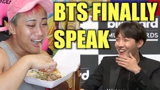 EATING AND WATCHING BTS BILLBOARDS PRESS CONFERENCE