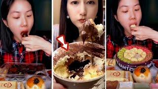 Crispy dessert eating show.디저트…