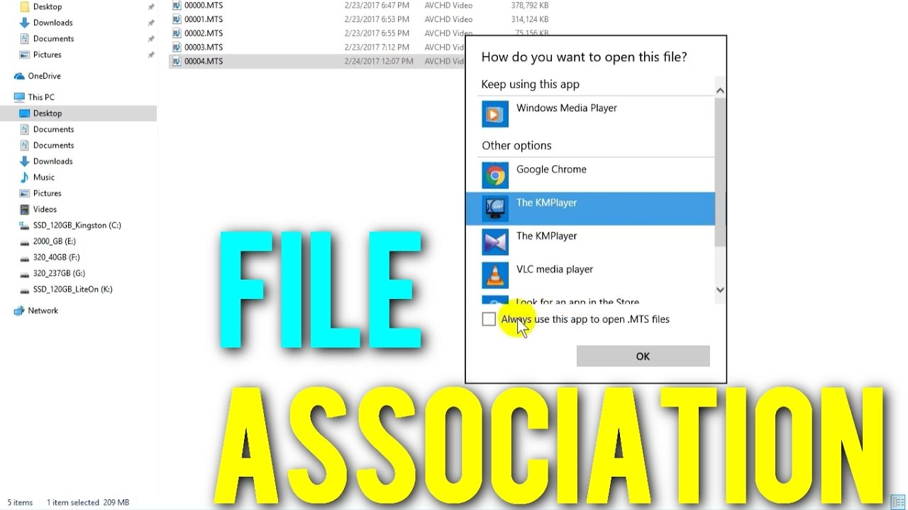How to open file with another program (File Association under Windows 10)