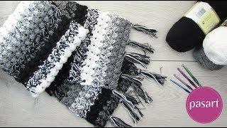 Jak zrobić szalik ombre na szydełku? Wzór na szalik ściegiem puff stitch - pasart.pl