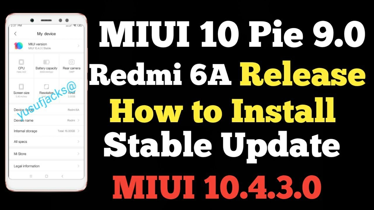 How to Install MIUI 10 4 3 0 Redmi 6A Android Pie 9 0 ROM, Redmi 6A