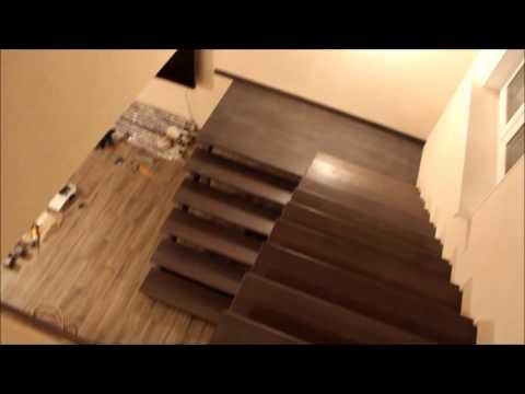 Изготовление и монтаж деревянной П - образной лестницы в материале БУК.