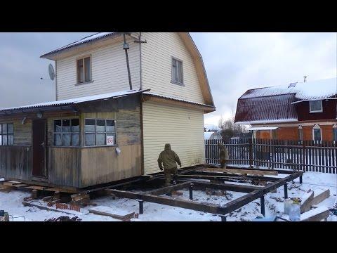 Подъем, передвижка и установка дома на новый фундамент.