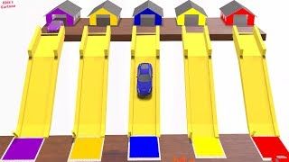 Learning Colors for Children with Car || Color Water Slides || 3D Coloring Station Parking for Kids