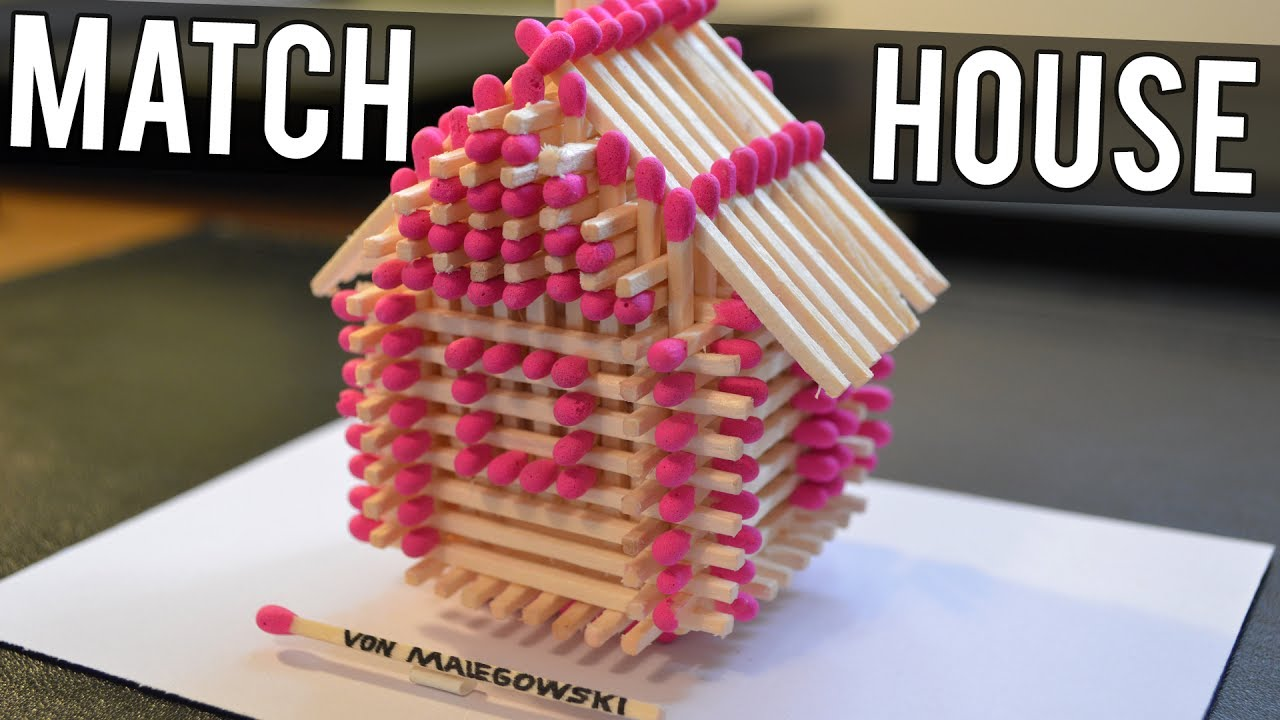 How to make a match house youtube for Making hut with waste material