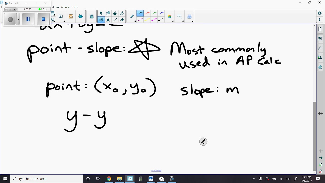 point slope form calc  AP Calc Day 16 16 16 Point slope form of equation of a line