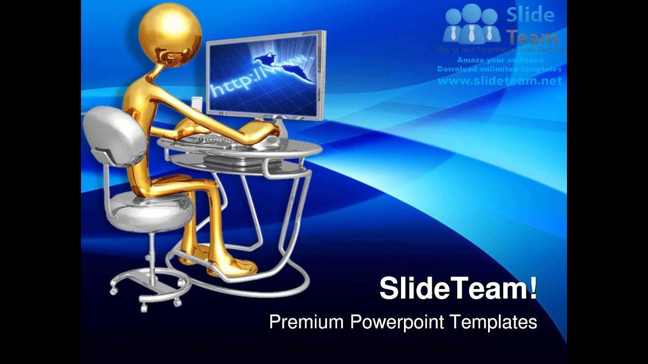 Work Station Monitor Computer Powerpoint Templates Themes And