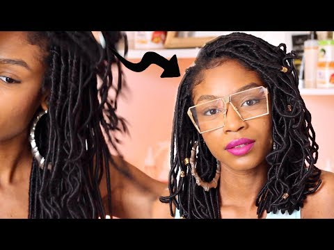 How to Cut Crochet Faux Locs into a Bob► Natural Hair Protective Styles