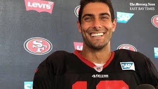 San Francisco 49ers' Jimmy Garoppolo discusses offense and more after joint practice with Texans