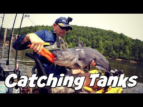 Catching Huge Blue Catfish in a Kayak