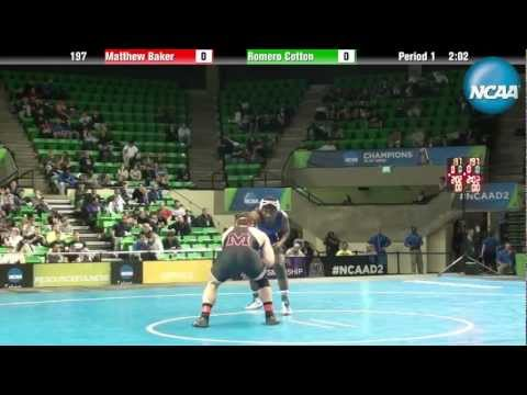 NCAA Division II National Championship Finals 197 LBS Matt Baker MU VS Romero Cotton UNK