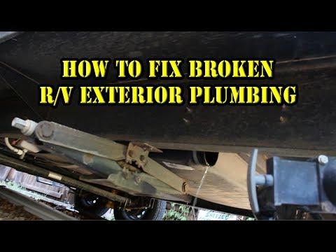 HOW TO - Fix / Repair RV Exterior Grey Black Water Tank Plumbing RV Hacks 5th wheel travel trailer