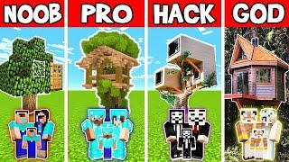 Minecraft: FAMILY TREE HOUSE BUILD CHALLENGE - NOOB vs PRO vs HACKER vs GOD in Minecraft Animations