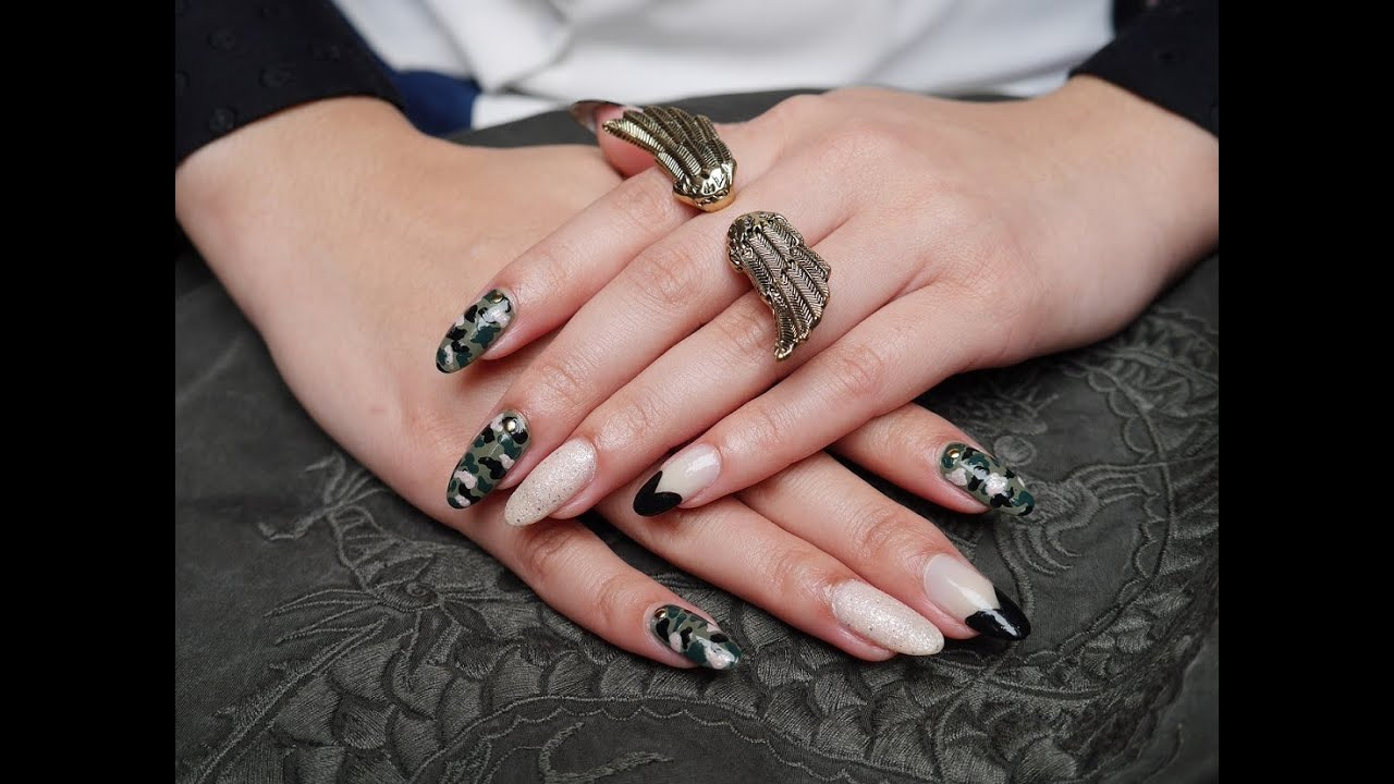 Fall Nail Art Tutorial: Camouflage with studs & black heart tips ...