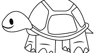 tortoise simple drawing draw clipart easy drawings steps paintingvalley