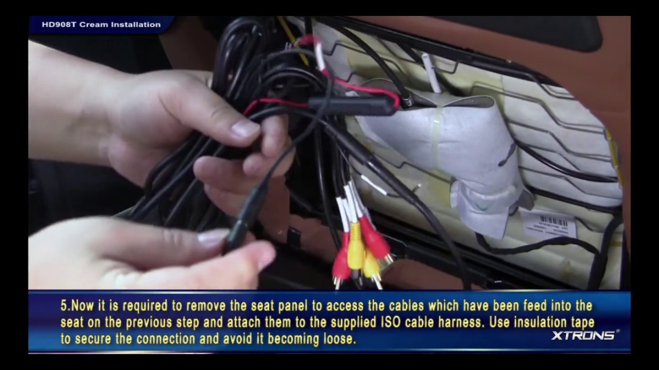 Hd908t Headrest Dvd Installation Youtube Nissan Monitor Wiring Harness
