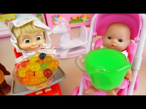 Thumbnail: Masha and Baby doll baby sitter Orbeez slime toys play