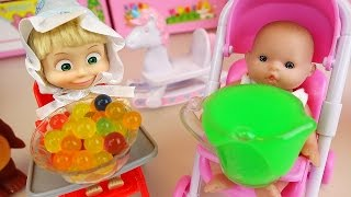 Masha and Baby doll baby sitter Orbeez slime toys play