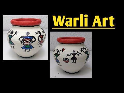 Warli art | pot decoration |warli painting on pots 5-Minute Crafts Kids | terracotta pot painting