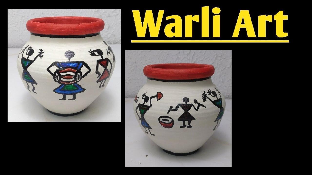 Warli Art Pot Decoration Warli Painting On Pots 5 Minute Crafts