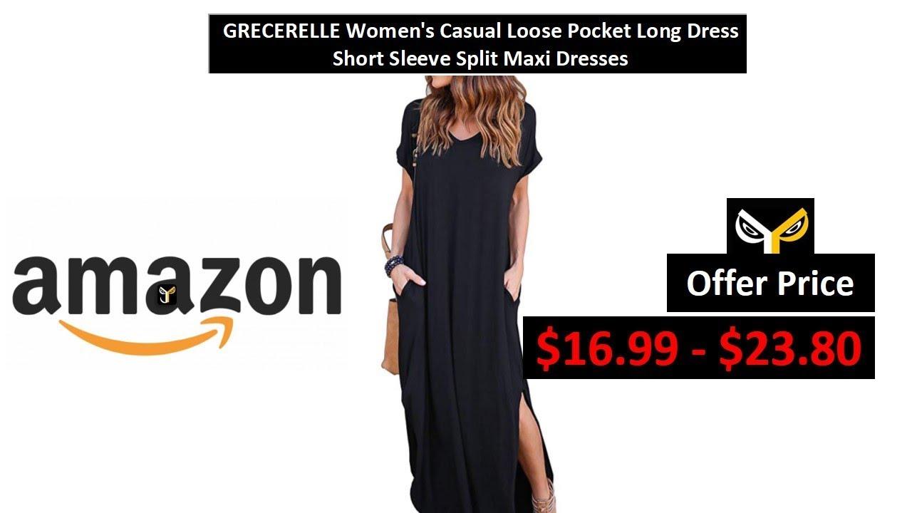40aa9132f0f1 GRECERELLE Women's Casual Loose Pocket Long Dress Short Sleeve Split Maxi  Dresses