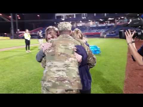 U.S. Soldier Surprises Family at Minor League Baseball Game