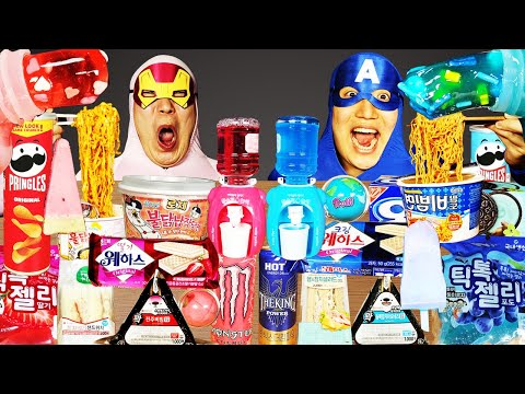 ASMR MUKBANG | BLUE VS PINK FOOD HONEY JELLY CANDY Desserts (Jelly, chocolate) Convenience store